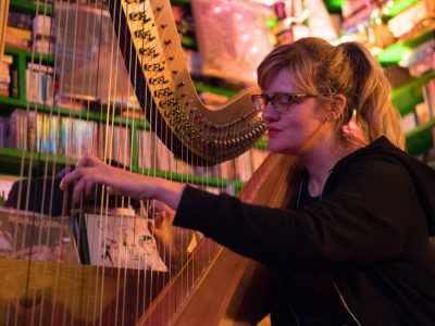 As a calm culmination to a frenetic weekend, world-renowned harpist Mary Lattimore played at the Hitt Rex Sessions inside of Hitt Records on Sunday, March 4, 2018. (Photo by Kyle Perry)